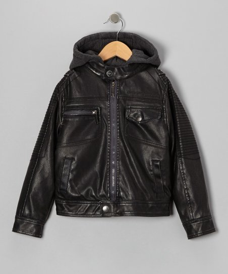Tobacco Faux Leather & Fleece Moto Hooded Jacket - Boys