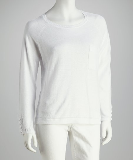 White Linen-Blend Long-Sleeve Top