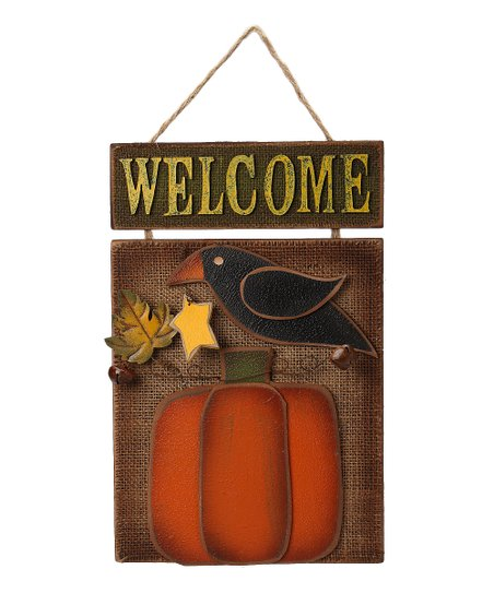 Crow 'Welcome' Wall Plaque