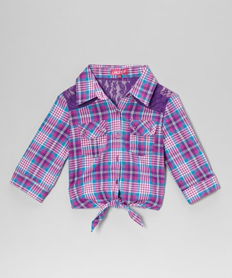 Purple & Raspberry Plaid Tie-Front Top - Girls