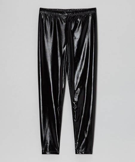 Shiny Black Leggings - Toddler & Girls
