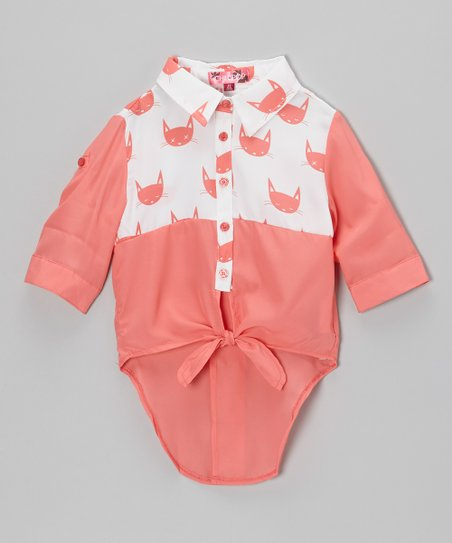 Rosy Cheeks Cat Tie-Front Top - Toddler & Girls