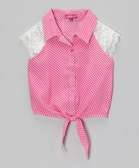 Rosy Cheeks Lace & Polka Dot Tie-Front Top - Toddler & Girls