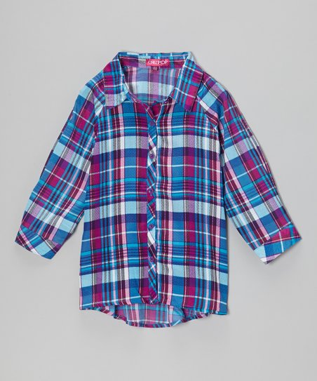 Pink & Purple Plaid Button-Up - Toddler & Girls