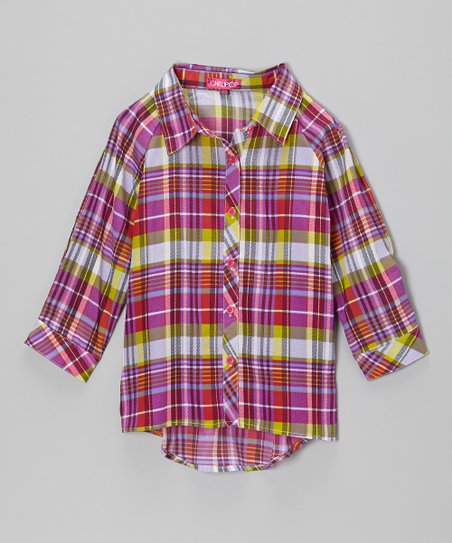 Fuchsia & Lime Plaid Button-Up - Toddler & Girls