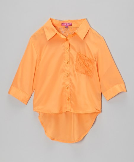 Pumpkin Pulp Hi-Low Button-Up - Toddler & Girls
