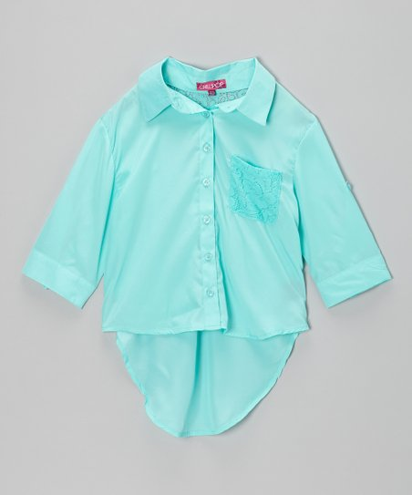 Jade Ice Hi-Low Button-Up - Toddler & Girls