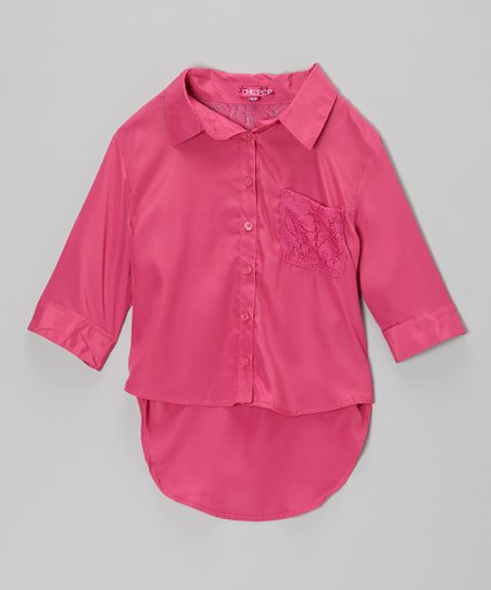 Rose Revival Lace-Pocket Button-Up - Girls