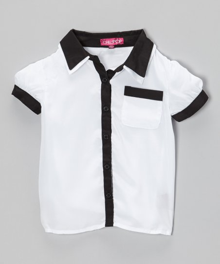 Snow White & Black Thorn Contrast Button-Up Top - Toddler & Girls