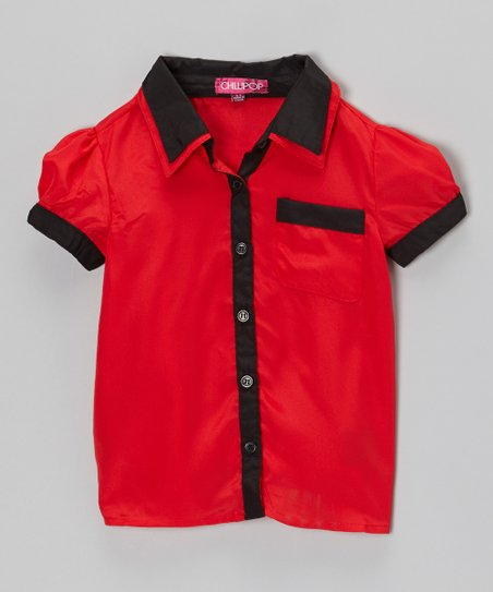 Black & Red Contrast Button-Up - Toddler & Girls