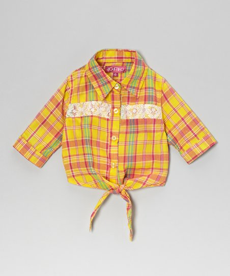 Yellow & Fuchsia Plaid Tie-Front Top - Toddler & Girls