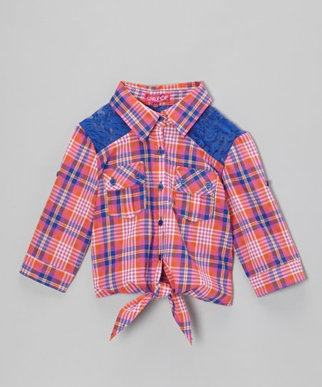Rose & Orange Plaid Tie-Front Top - Girls