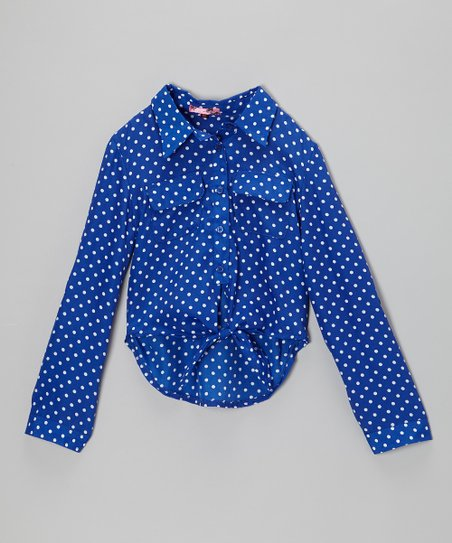 Blue & White Polka Dot Tie-Front Button-Up - Toddler & Girls