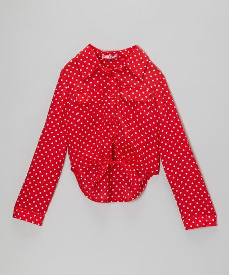 Red & White Polka Dot Tie-Front Button-Up - Toddler & Girls