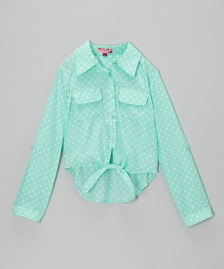 Jade & White Polka Dot Tie-Front Button-Up - Toddler & Girls
