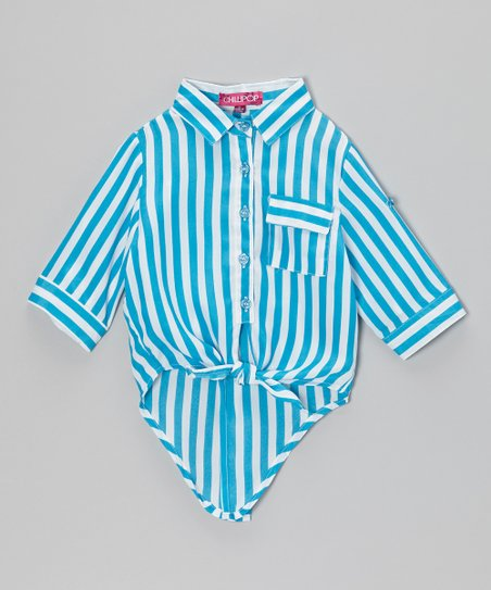 Azure & White Stripe Tie-Front Hi-Low Top - Toddler & Girls