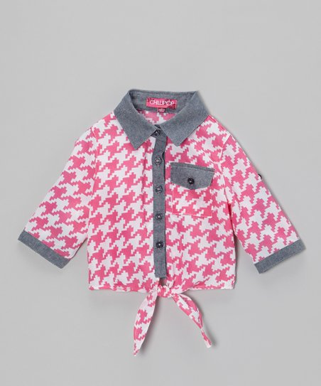 Pink & White Houndstooth Tie-Front Button-Up - Toddler & Girls