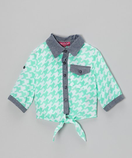 Jade & White Houndstooth Tie-Front Button-Up - Toddler & Girls
