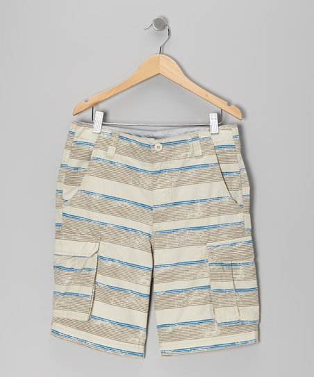 Stone Gray Stripe Cargo Shorts