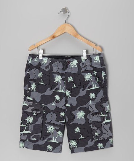 Charcoal Gray Tropical Camo Cargo Shorts