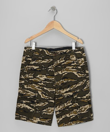 Olive & Gray Tiger Camo Cargo Shorts