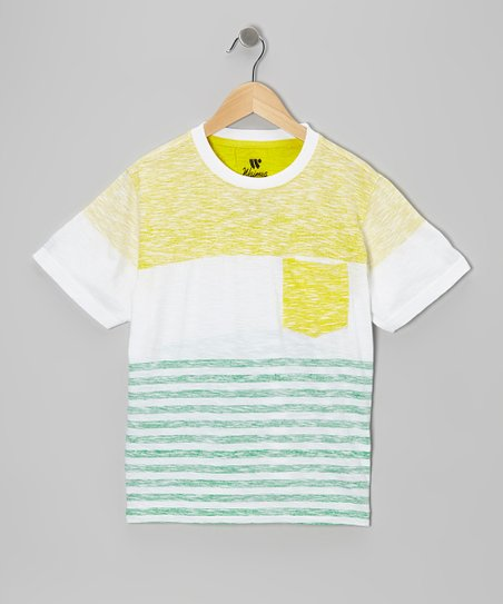 Yellow & Gray Stripe Reverse Tee