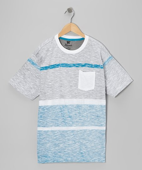 Blue & Gray Stripe Mélange Tee