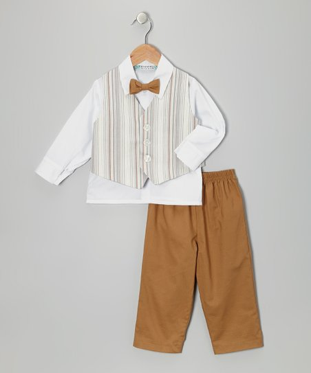 Brown Stripe Vest Set - Toddler