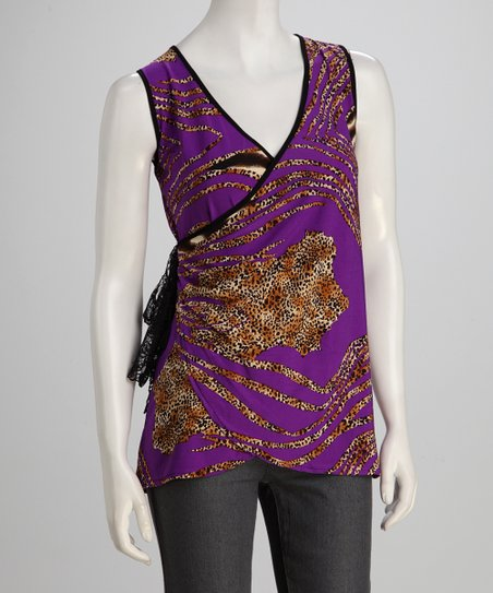 jon & anna Purple Safari Wrap Top