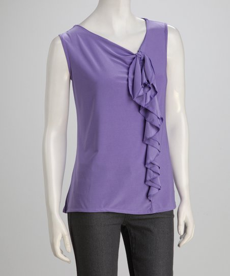 Lavender Ruffle Sleeveless Top