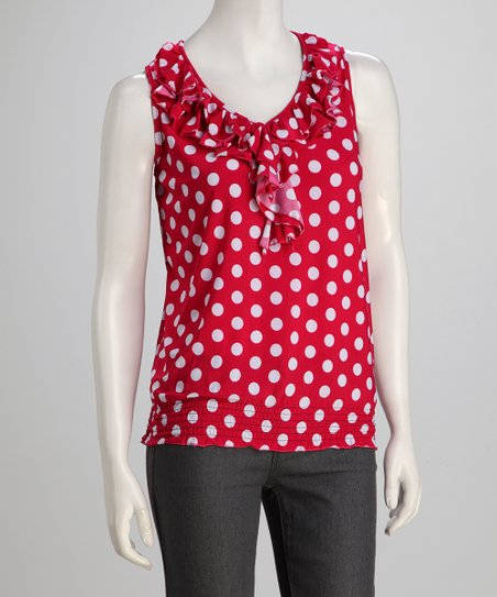 Red &amp; White Ruffle Polka Dot Sleeveless Top