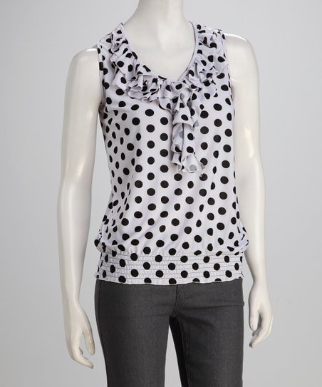 White &amp; Black Ruffle Polka Dot Sleeveless Top