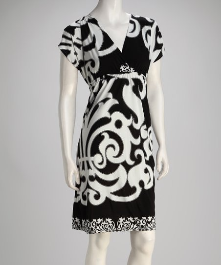 Black & White V-Neck Dress