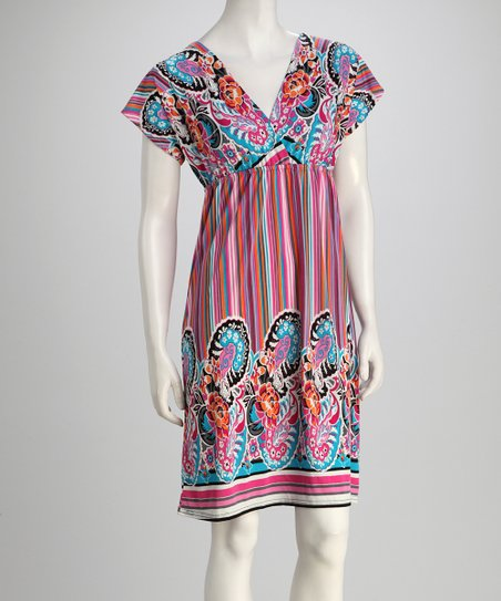 Pink & Blue Floral Stripe Surplice Dress