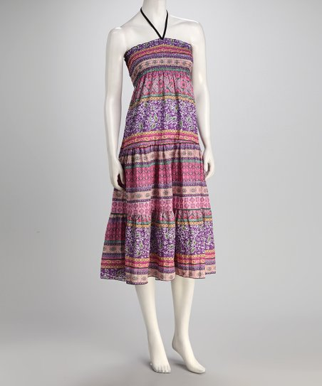 jon & anna Purple & Pink Paisley Stripe Bandeau Dress