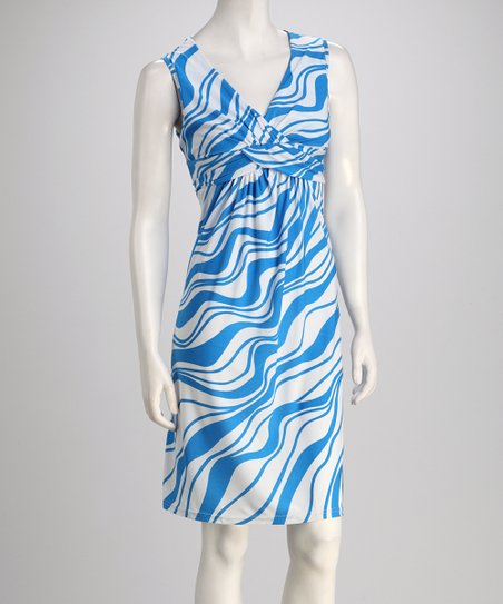 Blue &amp; White Wave Knotted Sleeveless Dress