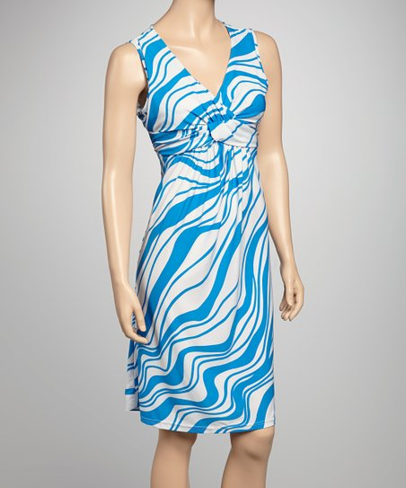 Blue & White Wave Sleeveless Dress