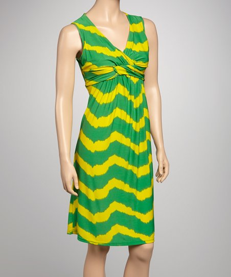 Green & Yellow Wave Sleeveless Dress