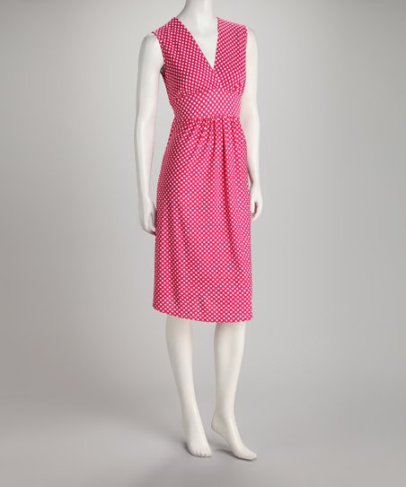 Fuchsia Polka Dot Sleeveless Dress