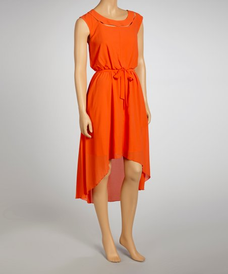 Coral Cutout Hi-Low Dress - Women
