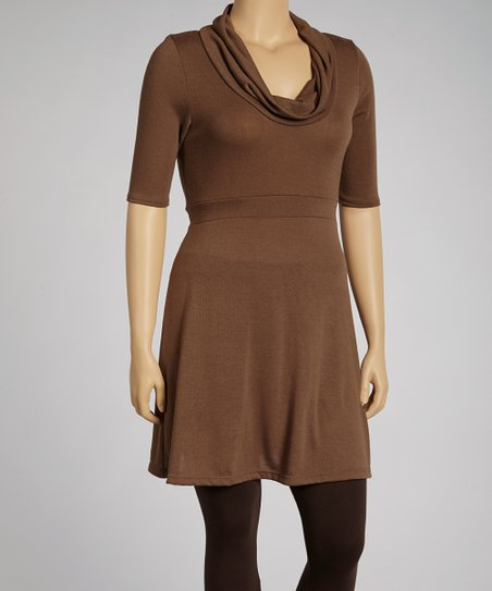 Brown Cowl Neck Dress - Plus