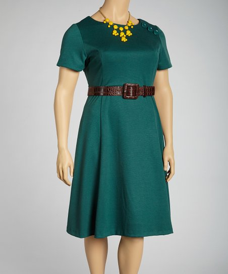 Forest Belted Short-Sleeve A-Line Dress - Plus