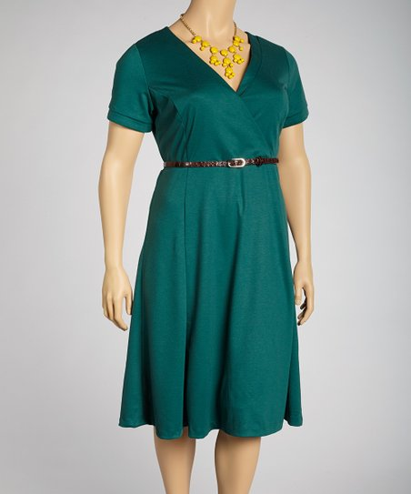 Forest Belted V-Neck Dress - Plus