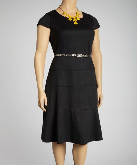 Black Belted Cap-Sleeve Dress - Plus