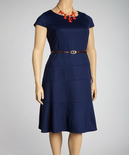 Navy Belted Cap-Sleeve Dress - Plus