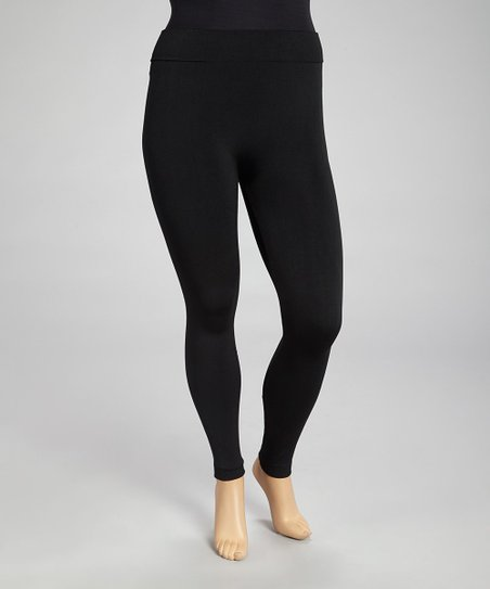 Black Seamless Fleece Leggings Set - Plus
