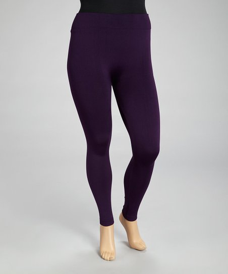 Dark Purple Seamless Fleece Leggings Set - Plus