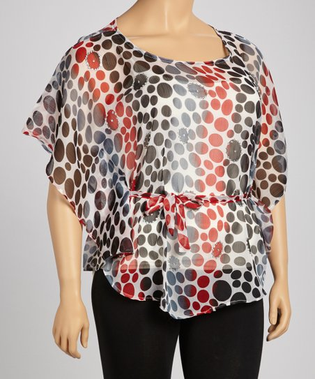 Red Polka Dot Sheer Cape-Sleeve Tunic - Plus