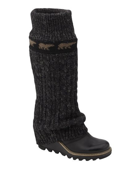 Black Crazy Cable Wedge Boot - Women