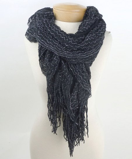 Black Metallic Open-Weave Fringe Scarf